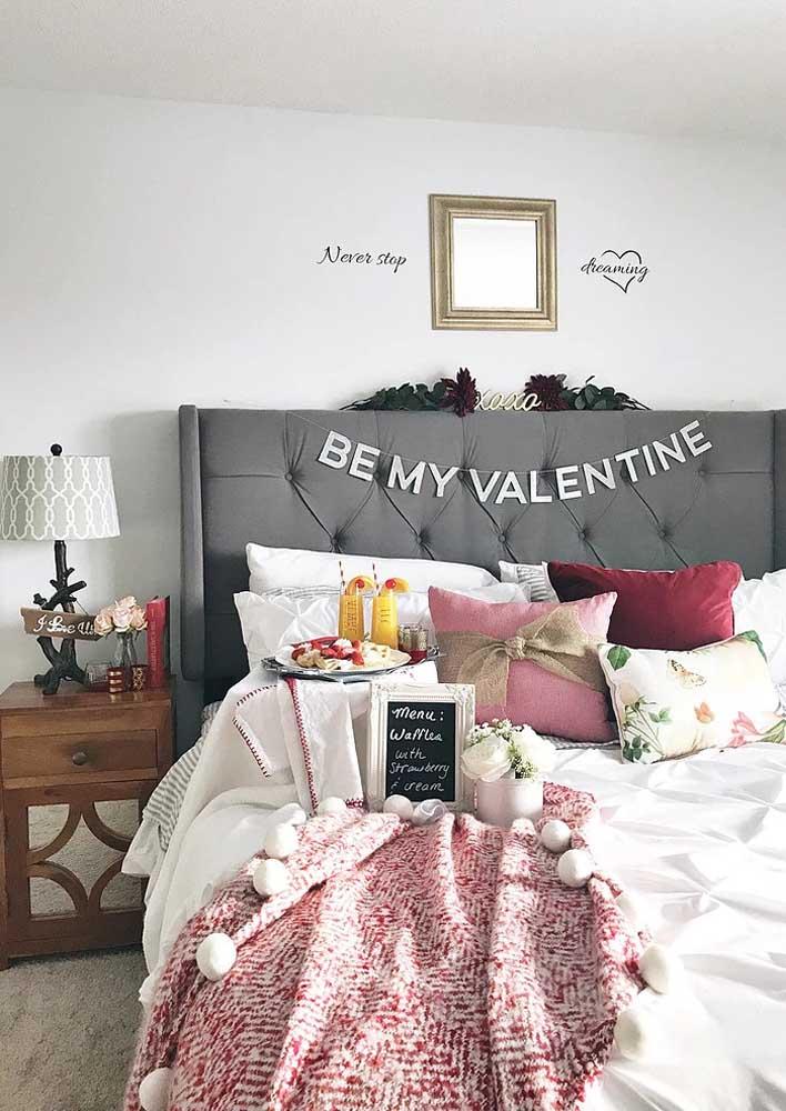 Café da manhã na cama para o dia dos namorados
