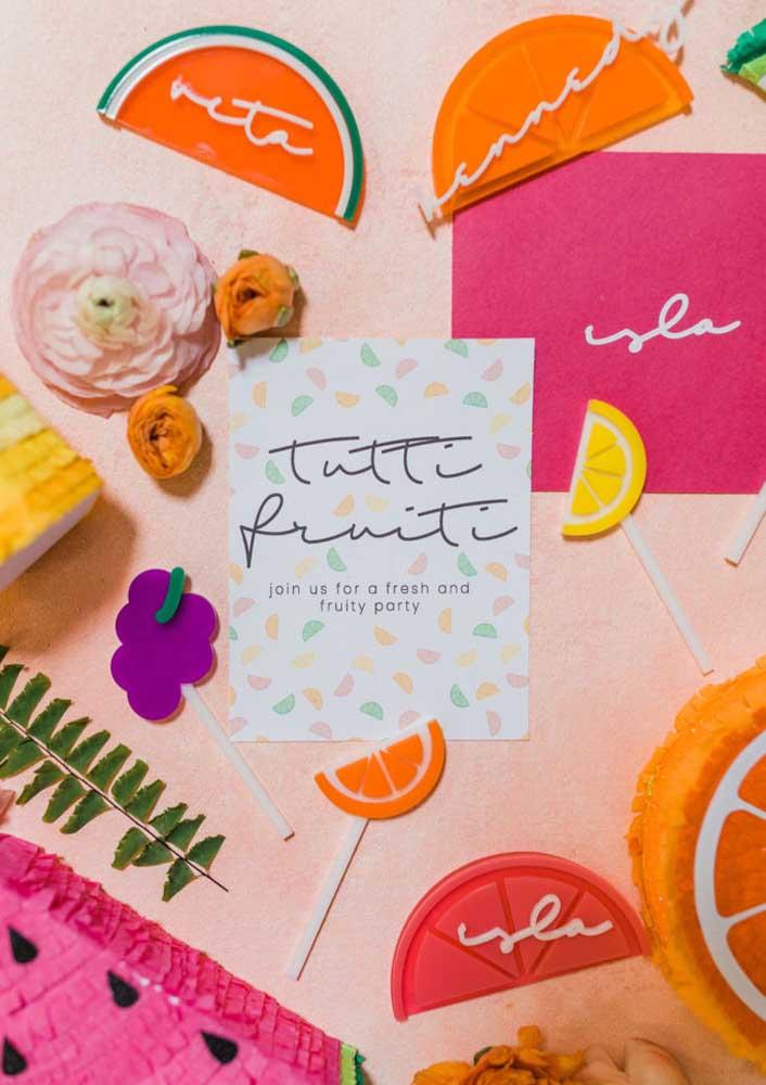 Convite para festa de aniversário tema Tutti Frutti
