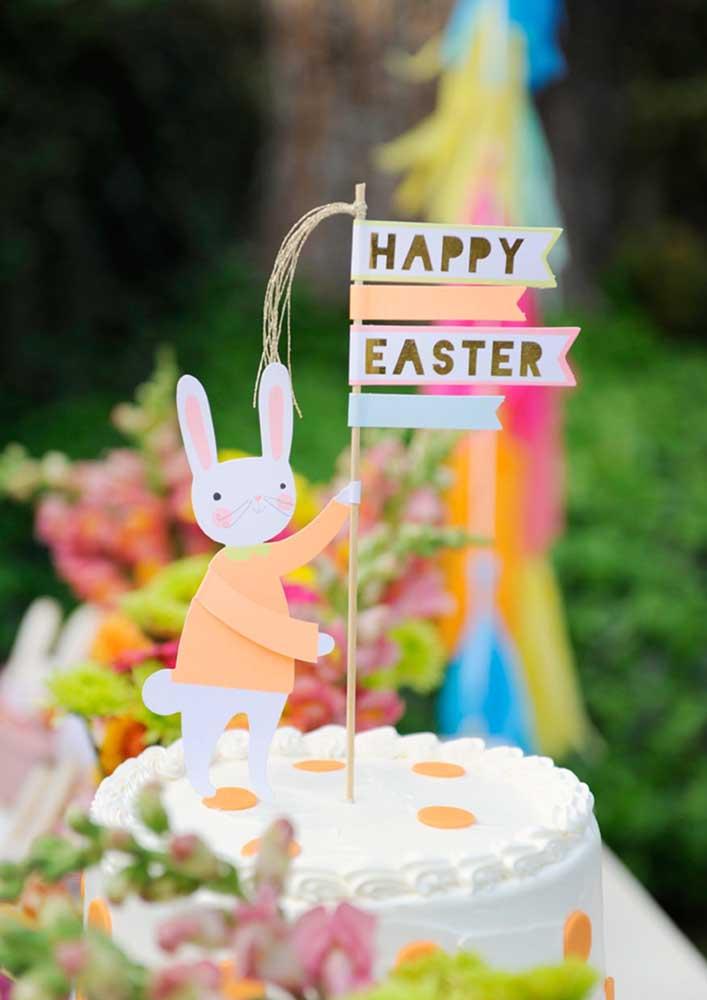 Topo de coelho de páscoa para o bolo. A versão em papel é simples e fácil de fazer