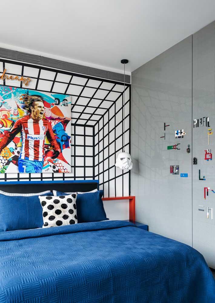 Dica de decoração para quarto: azul e cinza são duas cores modernas ideais para ambientes jovens