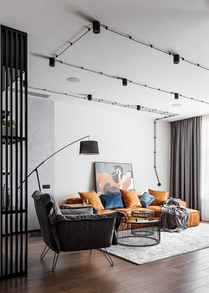Trilhos de luz para facilitar a instalação do projeto de iluminação