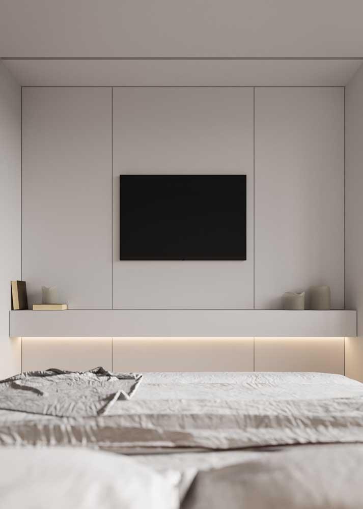 Moderno e de cores clean, esse projeto de móveis planejados para quarto prioriza linhas retas e design minimalista