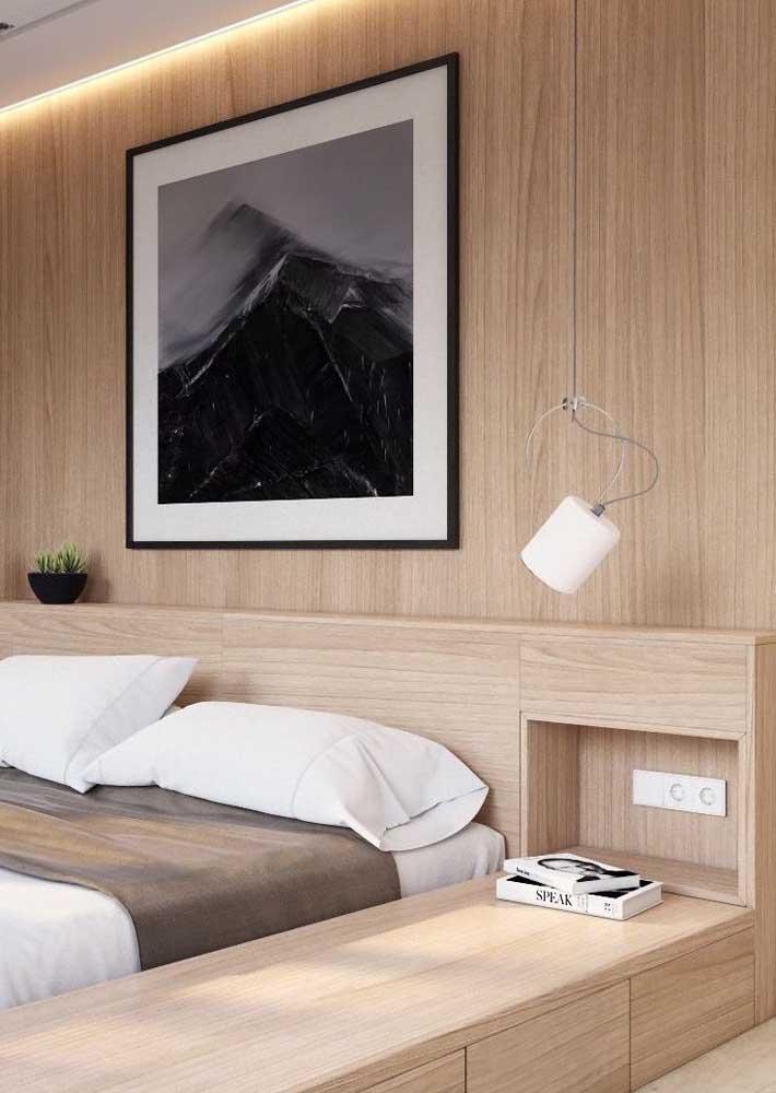 Unidade visual com os móveis planejados para quarto de casal