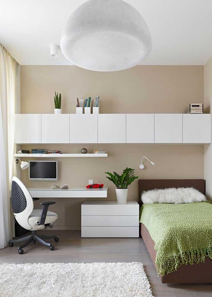 Projeto de móveis planejados para quarto de solteiro simples, mas eficientes e bonitos