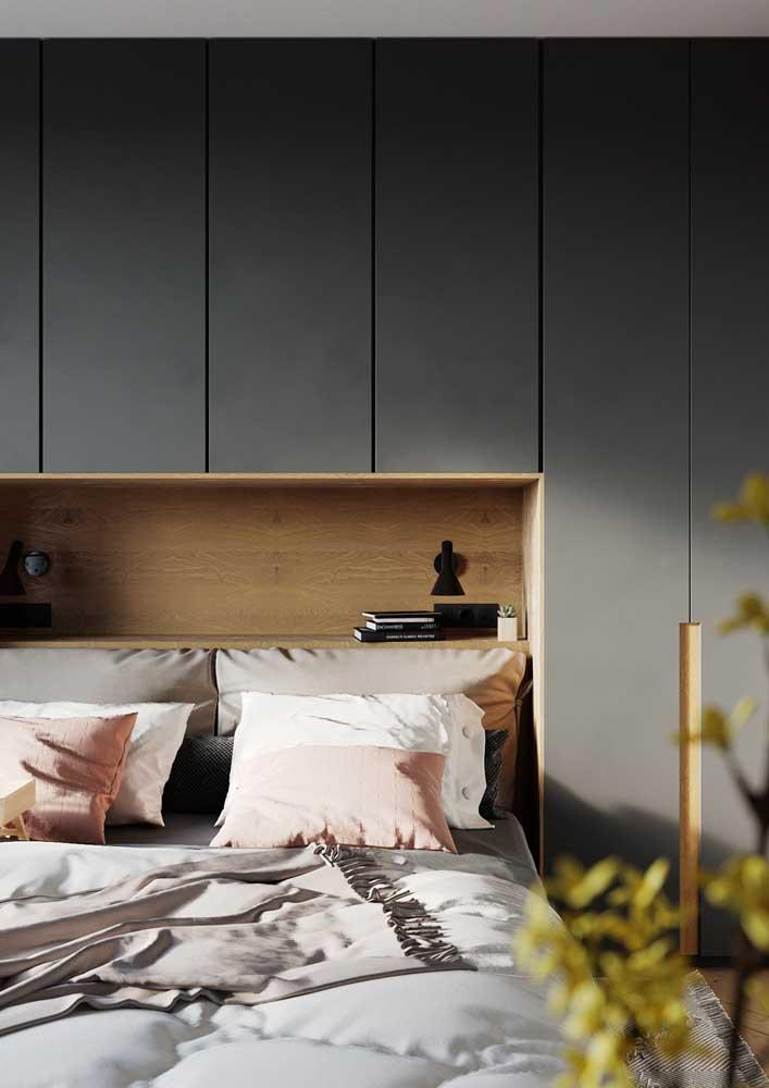 Móveis planejados para quarto sem puxadores para um visual mais clean e moderno